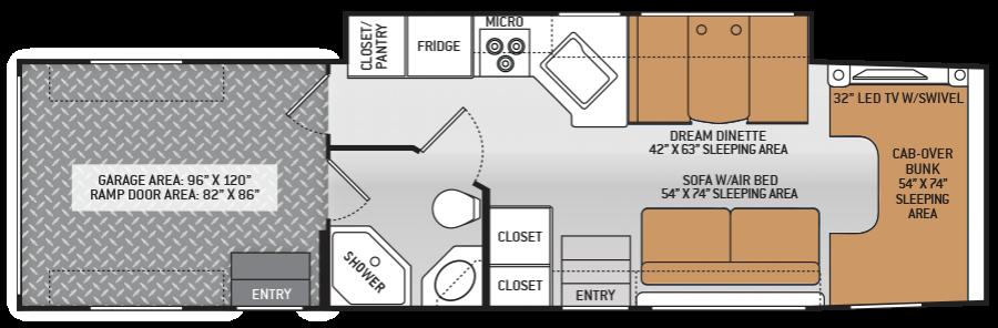 2014 Thor Outlaw 35SG Super C Diesel Toyhauler Floor Plan