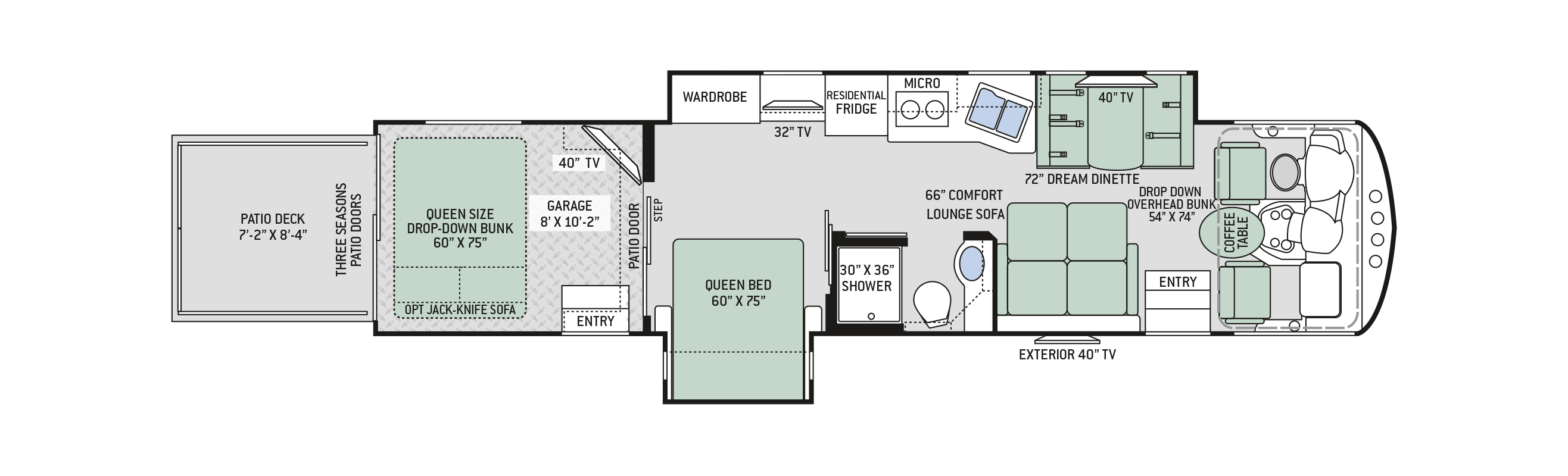 2019 Thor Outlaw 38MB Floor Plan
