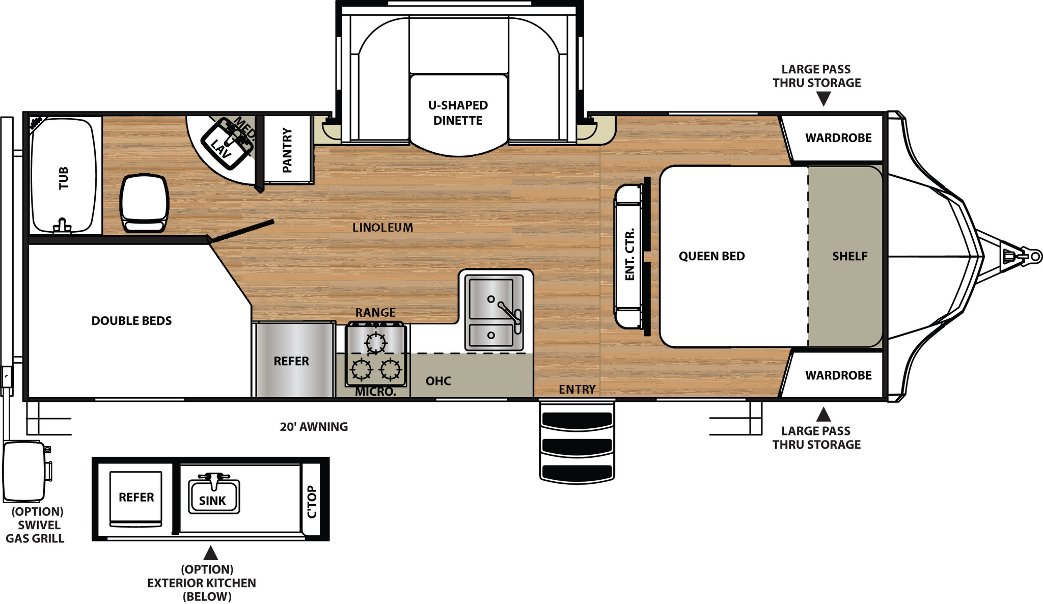 2016 Forest River Vibe Extreme Lite 245BHS Floor Plan