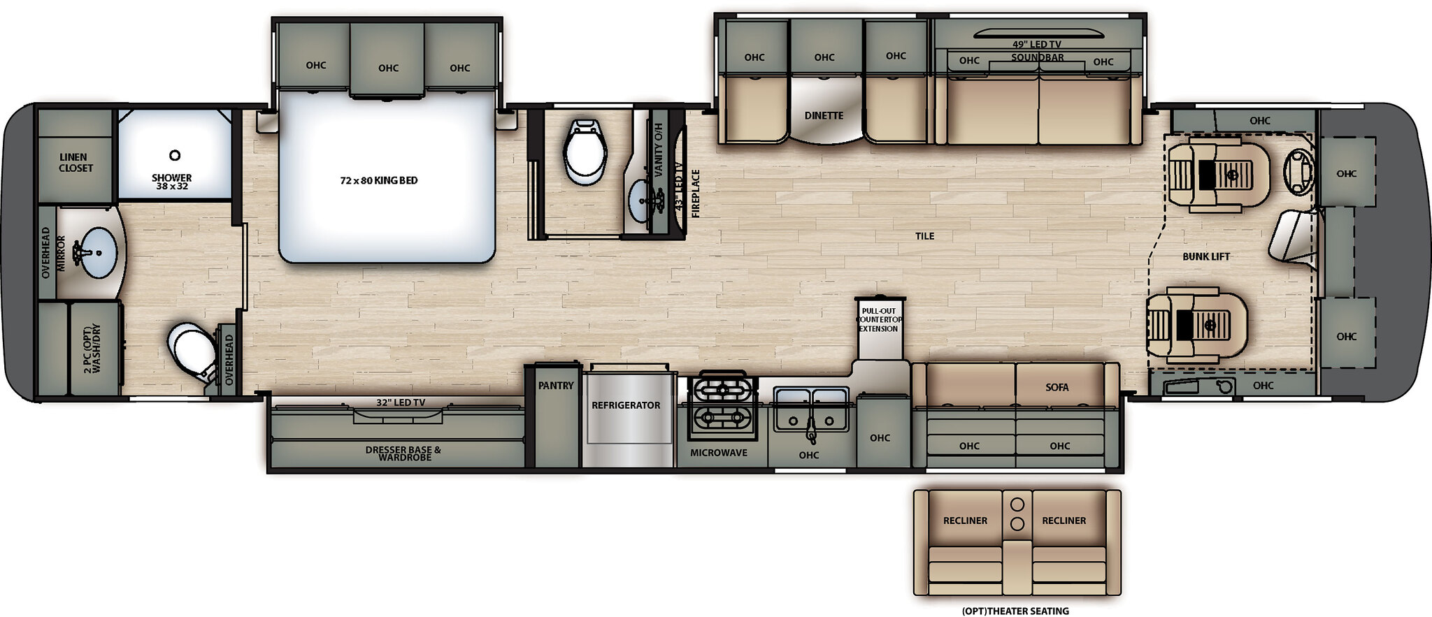 2020 Forest River Berkshire 39A Floor Plan