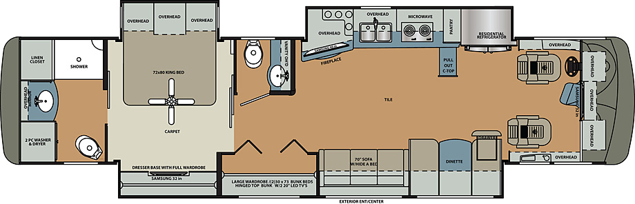 2019 Forest River Berkshire XL 40C Floor Plan