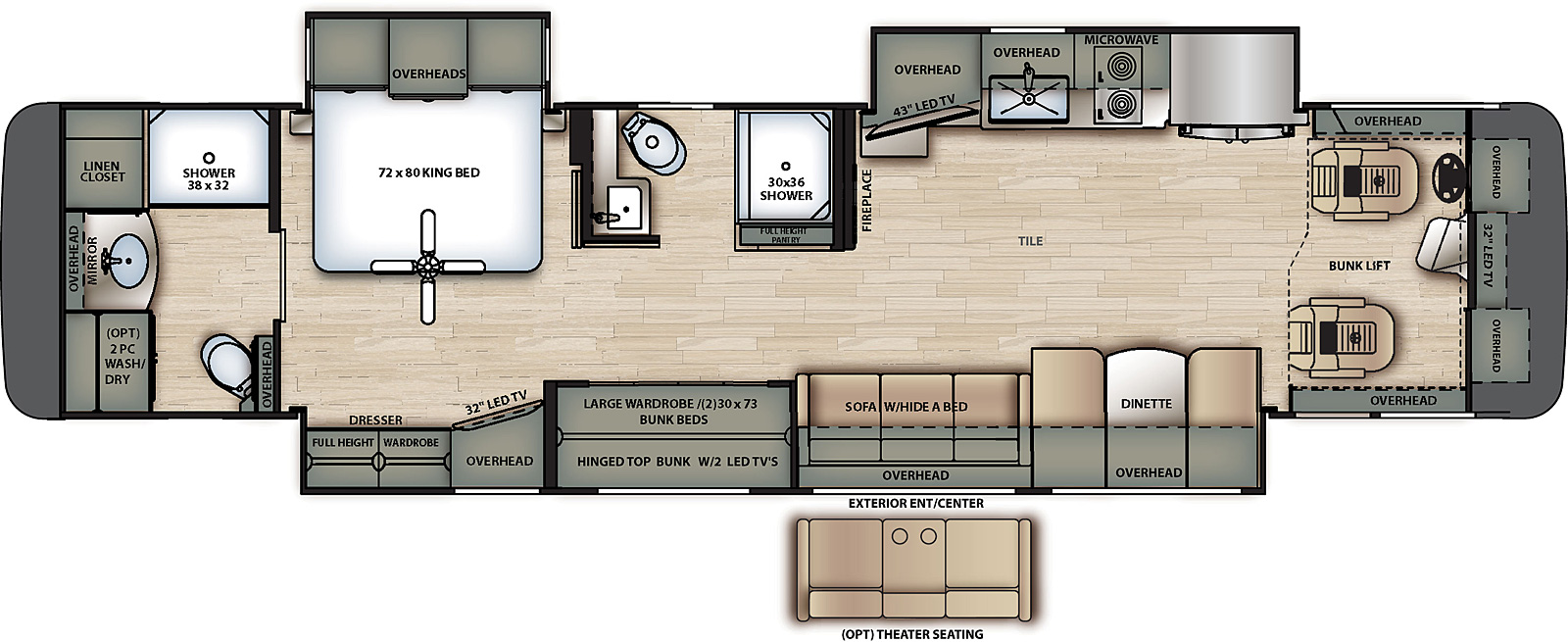 2021 Forest River Berkshire XL 40E Floor Plan