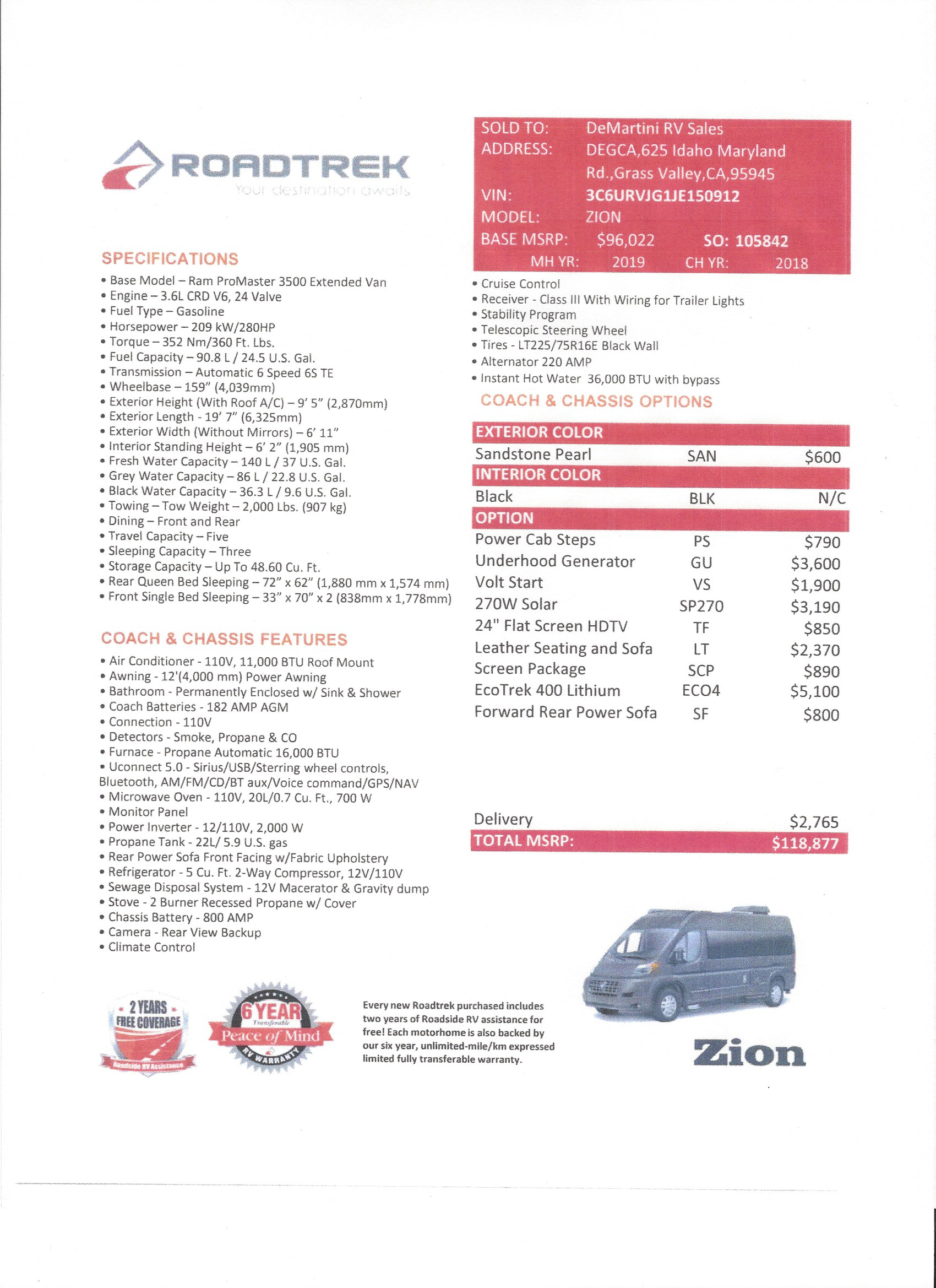 2019 Roadtrek Zion MSRP Sheet