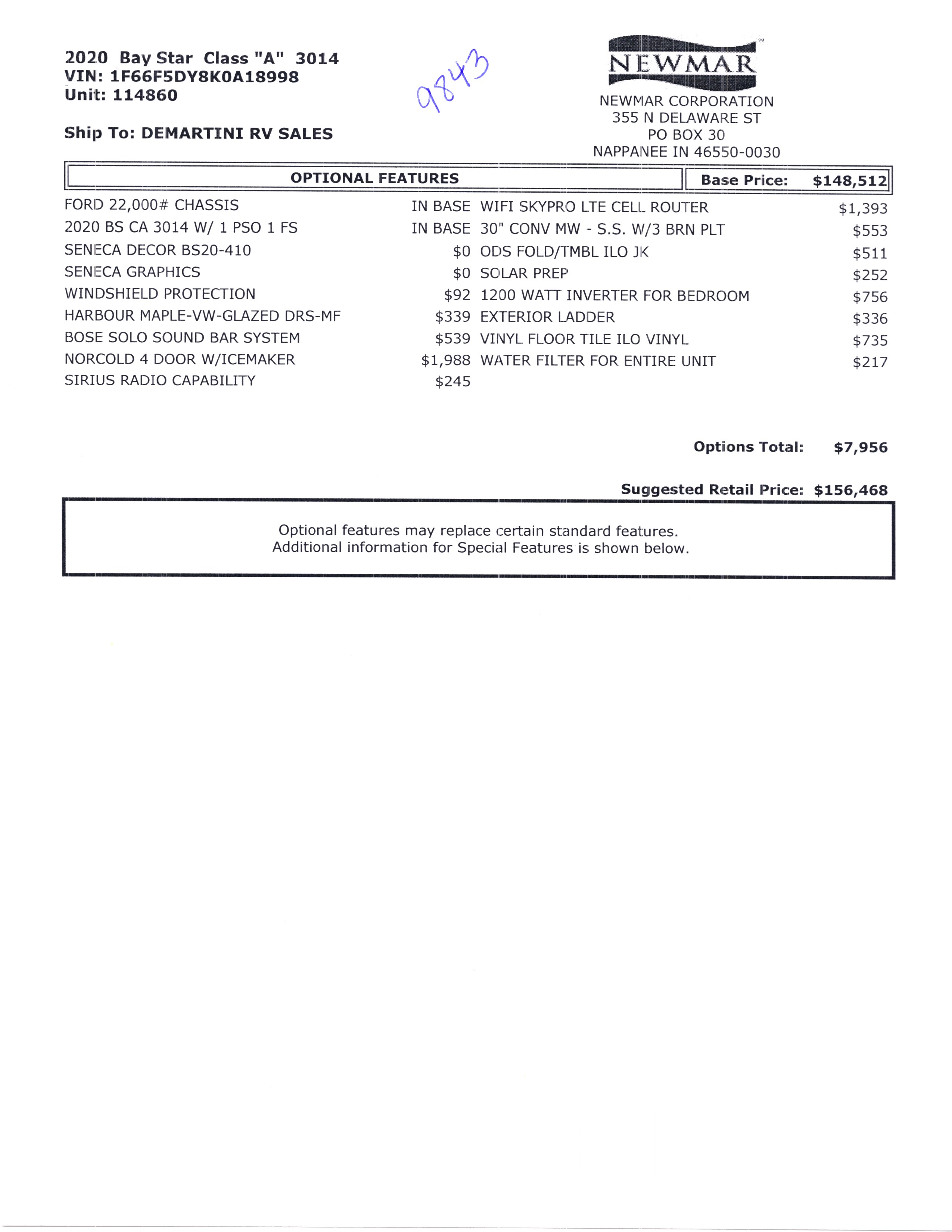 2020 Newmar Bay Star 3014 MSRP Sheet