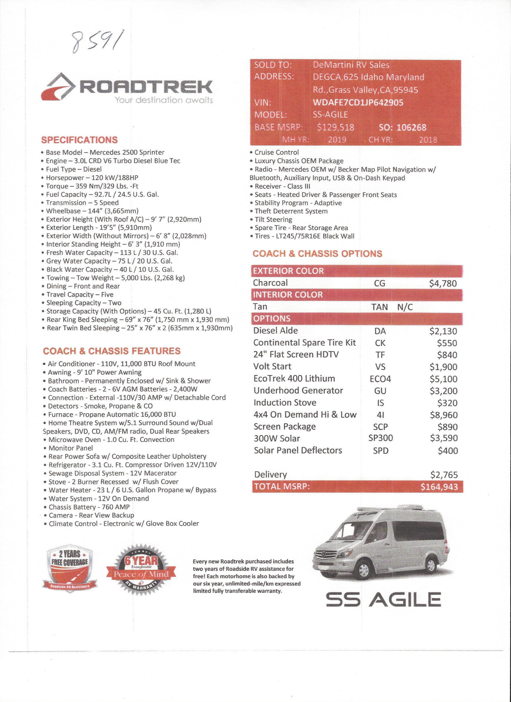 2019 ROADTREK SS AGILE 4X4 MSRP Sheet